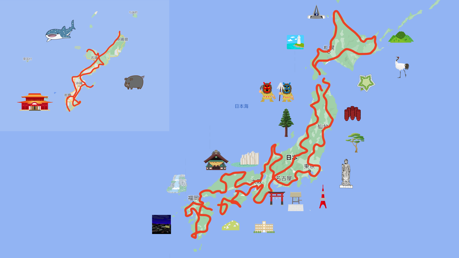 日本一周マップ
